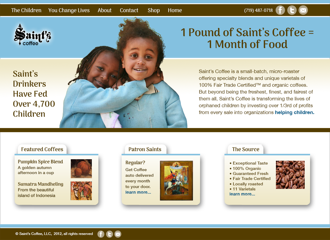 Saint's Coffee Web Site